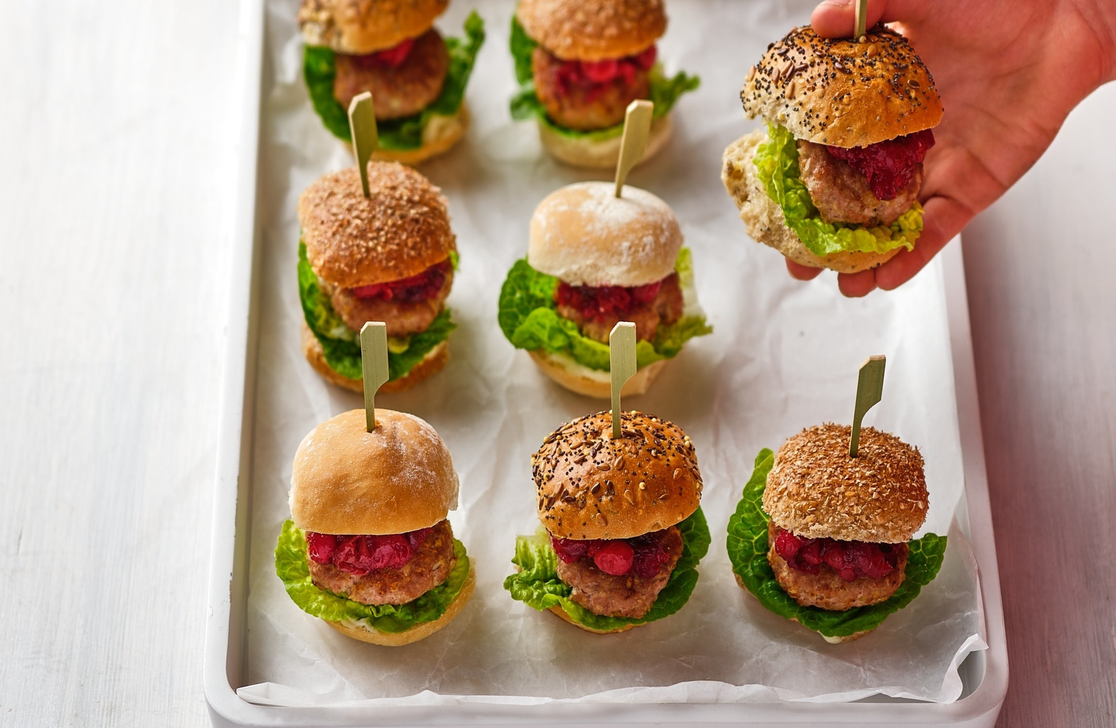 Tiny Turkey Burgers with Cranberry & Pecan Sauce