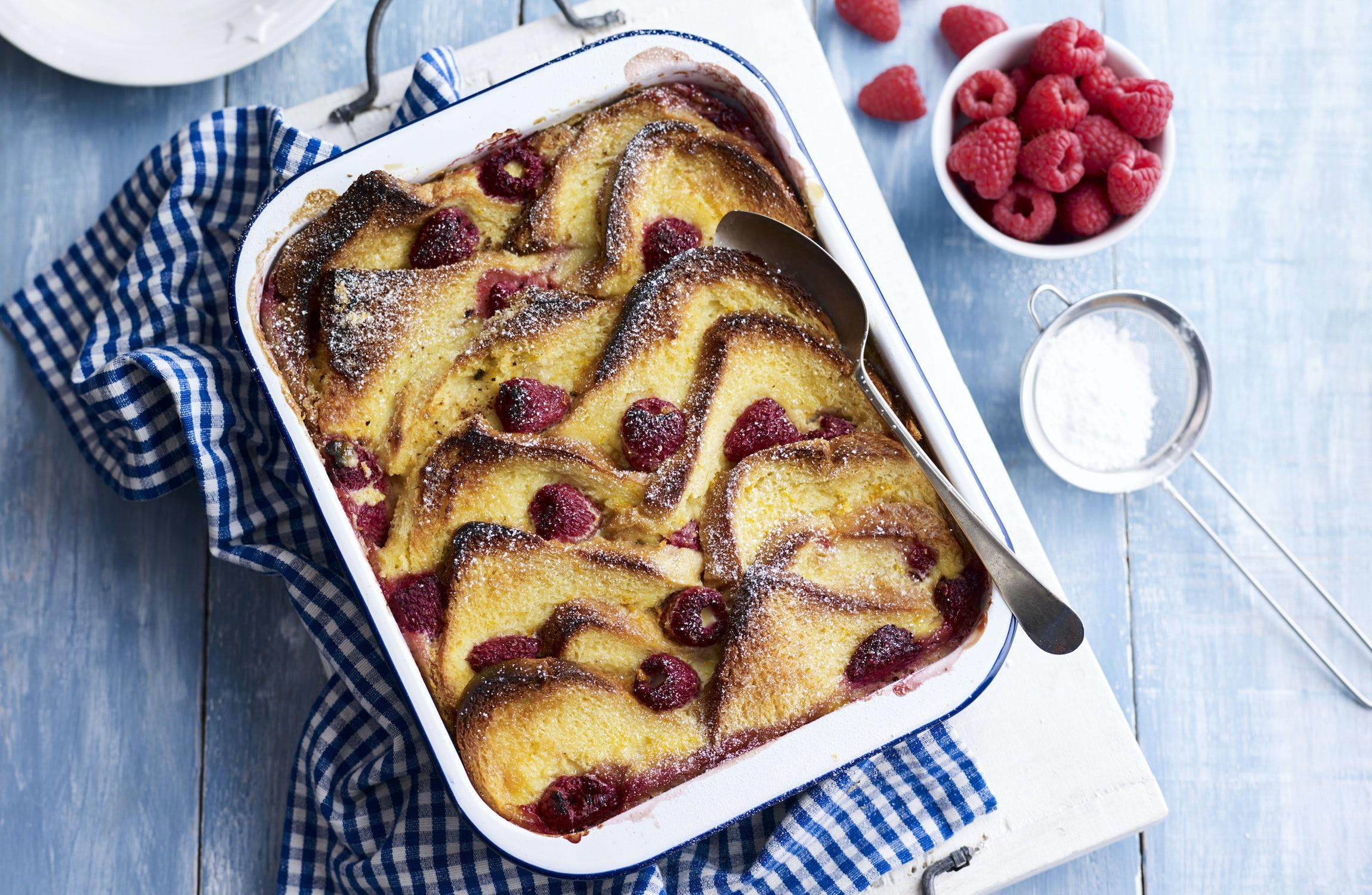 Raspberry Brioche Pudding