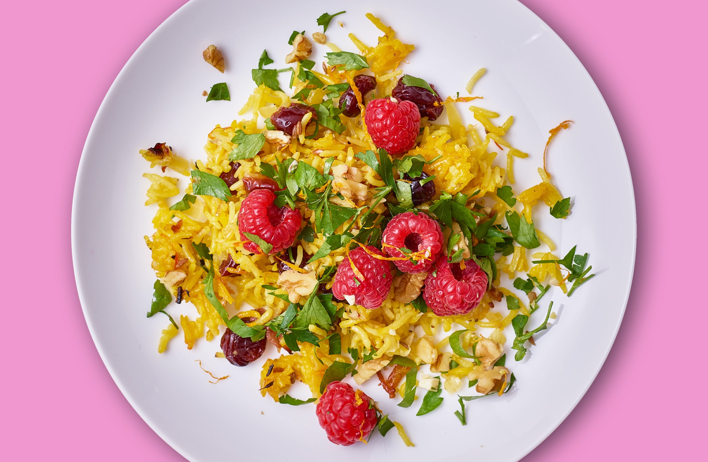 Raspberry Rainbow Rice Salad