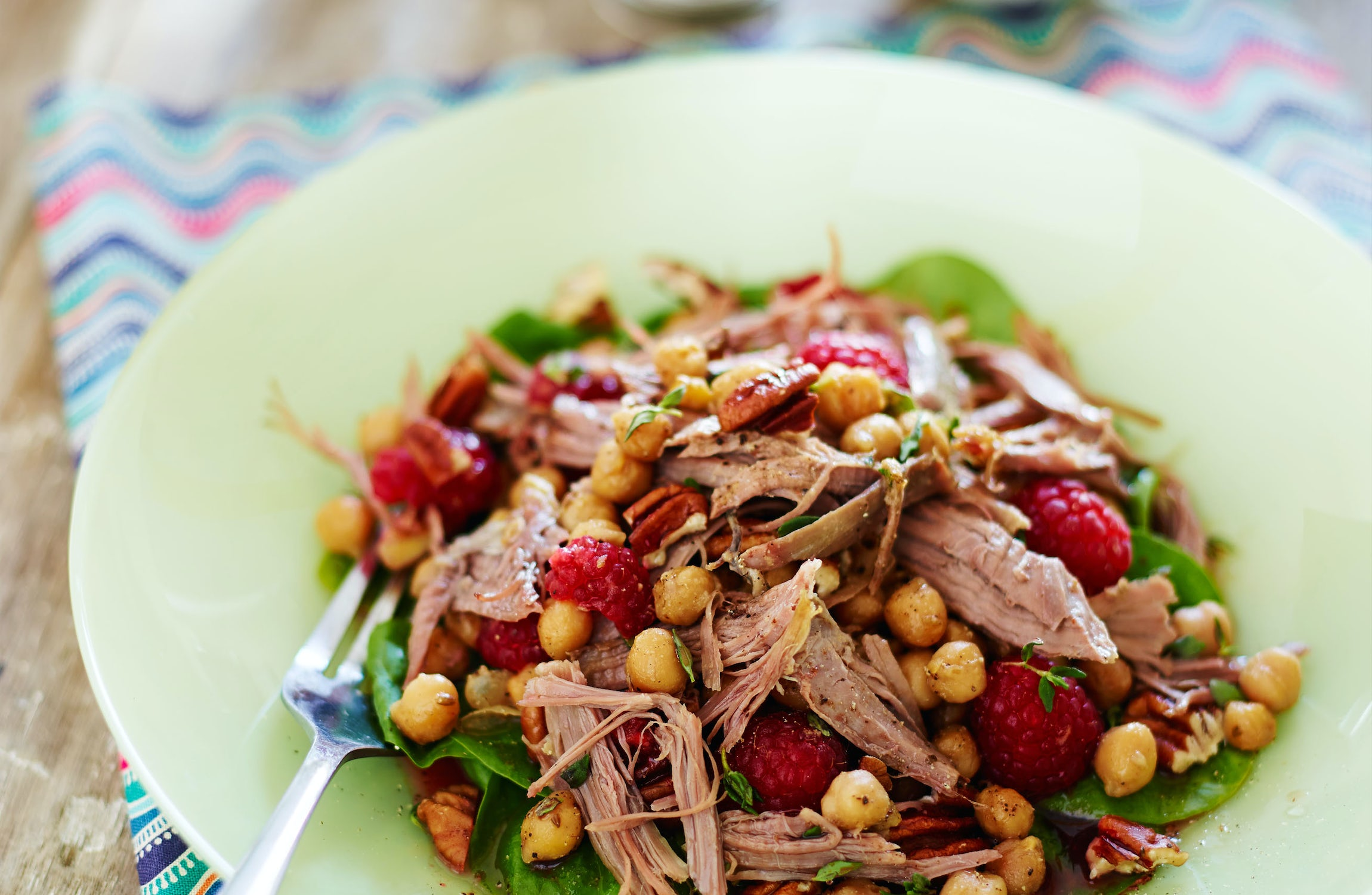 Warm Salad of Middle Eastern Pulled Lamb & Chickpeas with Raspberries