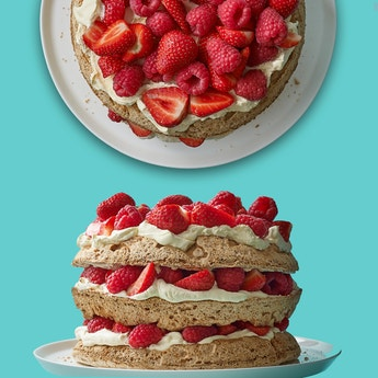 Hazelnut Meringue Layer Cake with Strawberries & Raspberries