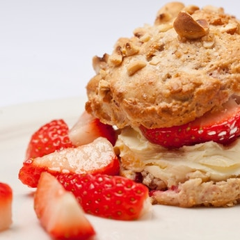 Hazelnut & Tonka Bean Scones with Strawberries & Clotted Cream