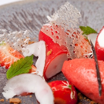 Coconut Panna Cotta with Strawberry