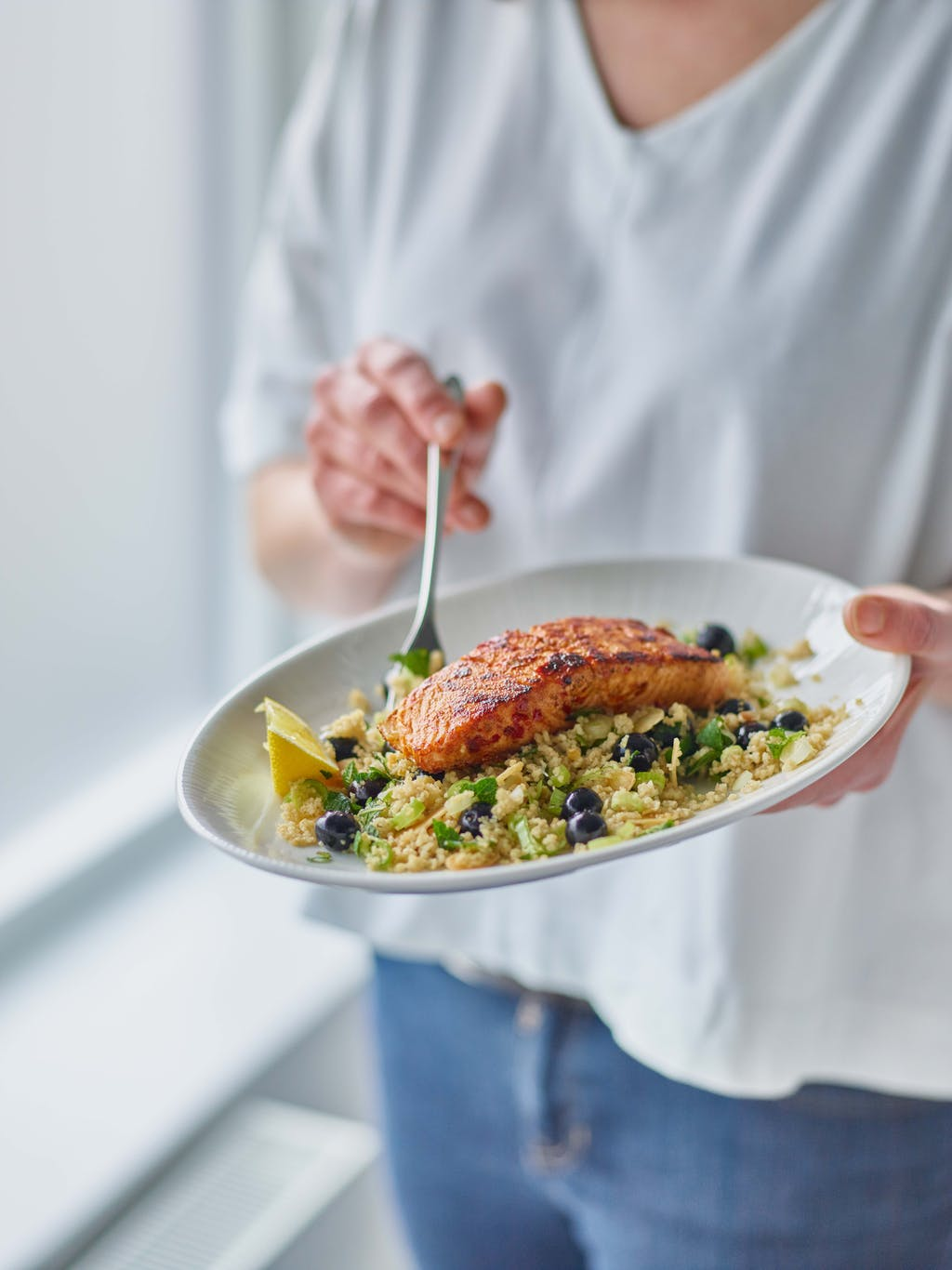 Blueberry griddled harissa salmon blueberry couscous interaction WEB
