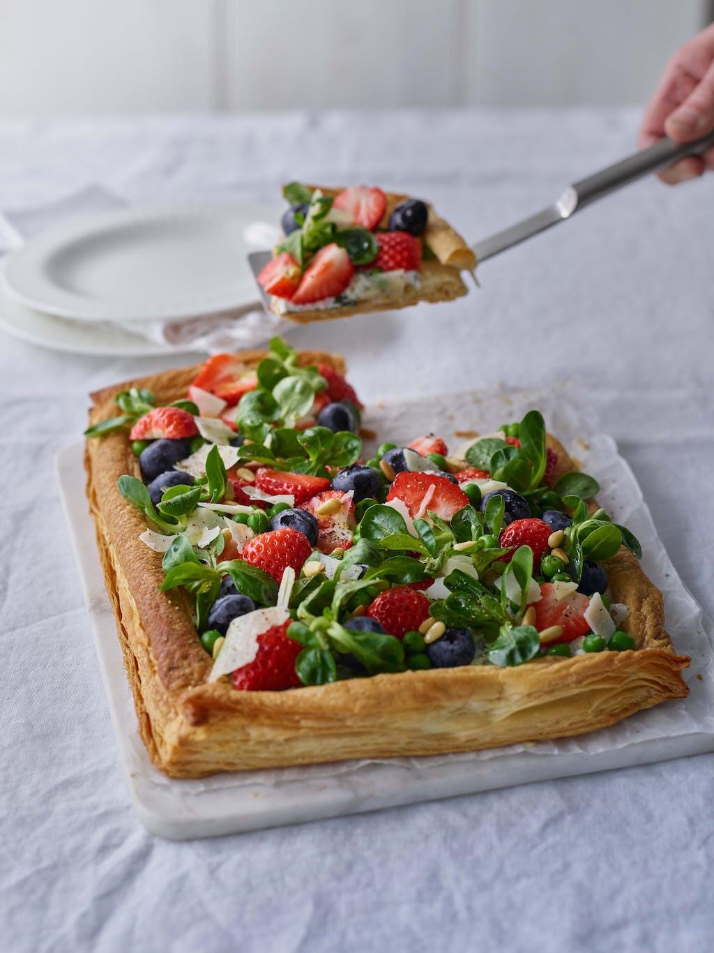 Strawberry Blueberry sweet savoury cheese tart interaction WEB